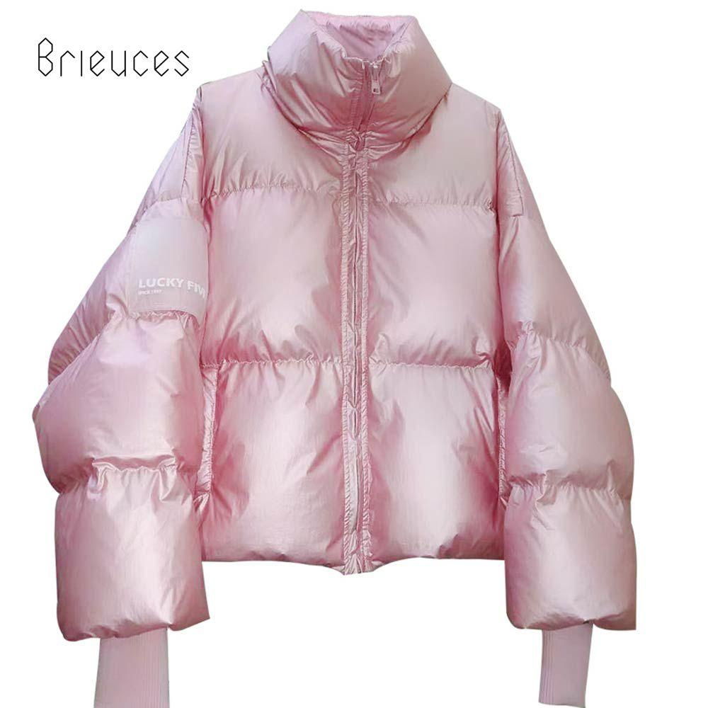 Brieuces Winter Women Down Parkas Coats Stand Collar White Duck Down Jacket Waterproof Zipper Outerwear Short Warm Coats