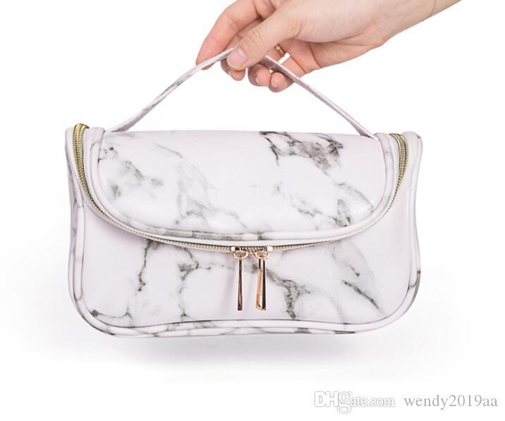 مل 3pcs Tolietry مجموعات المرأة PU الرخامي متعدد الوظائف سعة كبيرة حقيبة مستحضرات التجميل أبيض أسود