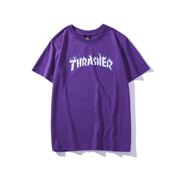 Дизайнер мужской футболка лето лед языки пламени фиолетовой ограниченная футболка случайная спортивной шея пара летом короткий TEE