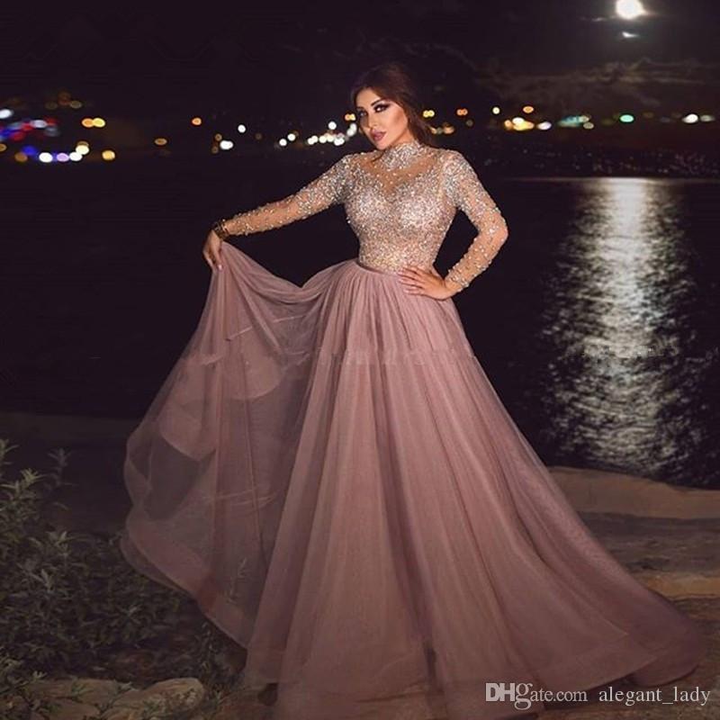 Gola alta Dusty rosa muçulmana Vestido ilusão manga comprida de cristal frisado Plus Size vestidos formais árabe por Mulheres Dubai Prom Vestidos