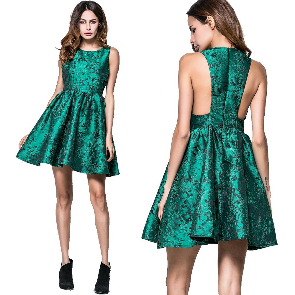 Vestidos de baile mulheres jacquard verde sexy mini cocktail evening party evening sexy elegante balanço vestido de baile moda original dress 8819
