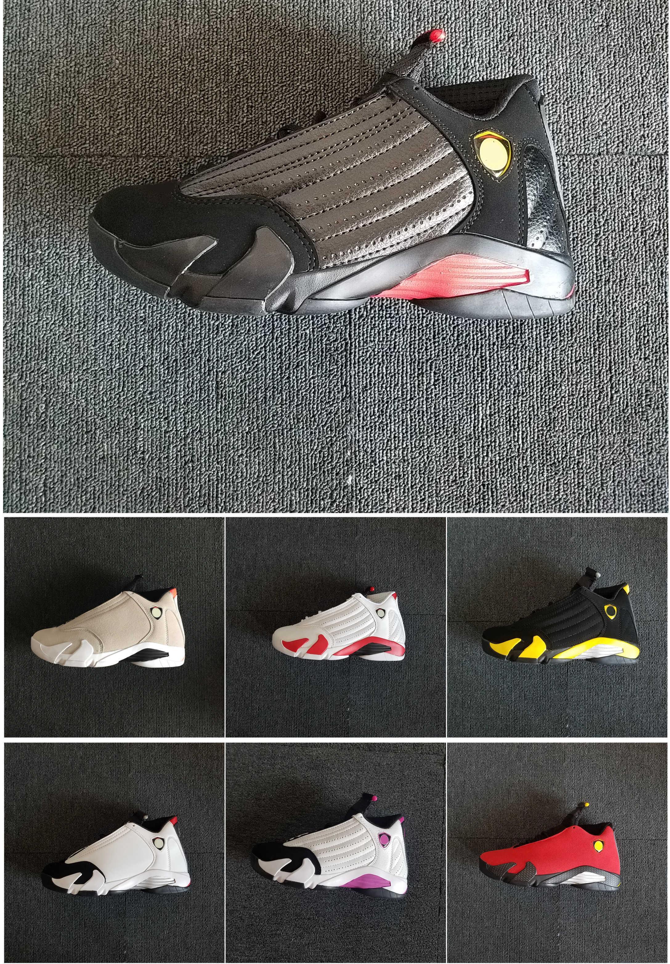 14s Basketball-Schuh-Turnschuh-Entwerfer-Frauen-Männer Schwarz Weiß Lila Gelb Rot Leder Sportschuhe mit Kasten