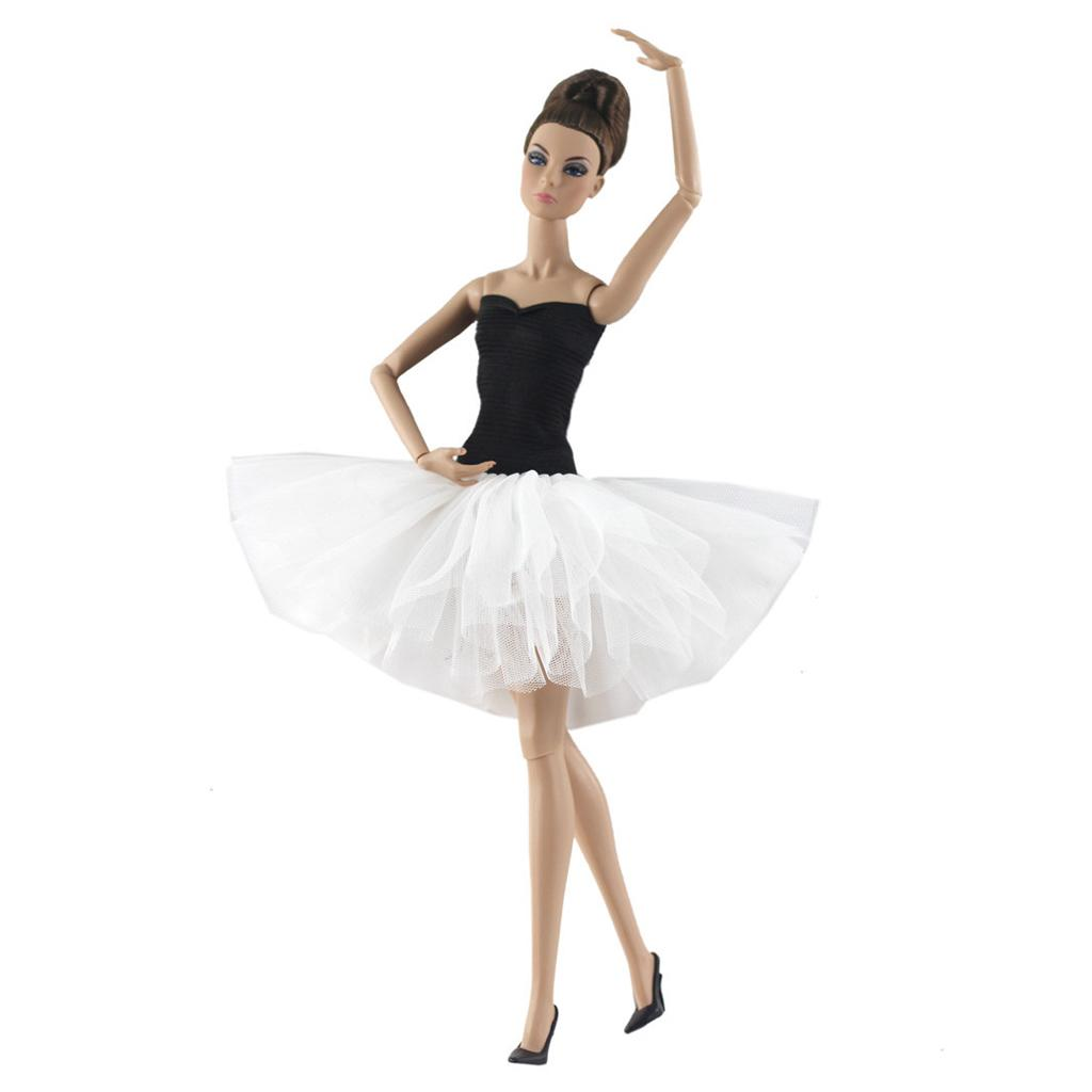 White Ballet Dress For Doll Evening Dresses Clothes For Dolls Toy