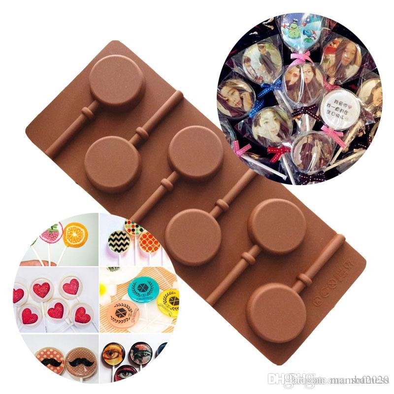 Lollipop Shape DIY Silicone Cake Mold 3D Ice Cream Maker 5 Holes Cakes Decorating Tools For Chocolate Fondnat Molds Dessert Tool