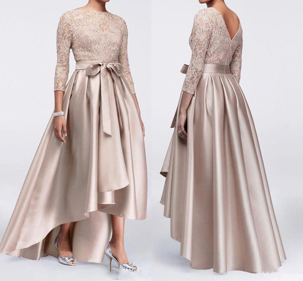 Vintage Champagne Lace Appliqued A-line Mãe Dos Vestidos de Noiva Barato H-Lo Cetim Plus Size Vestido Mãe Elegante Formal Vestido de Noite Prom