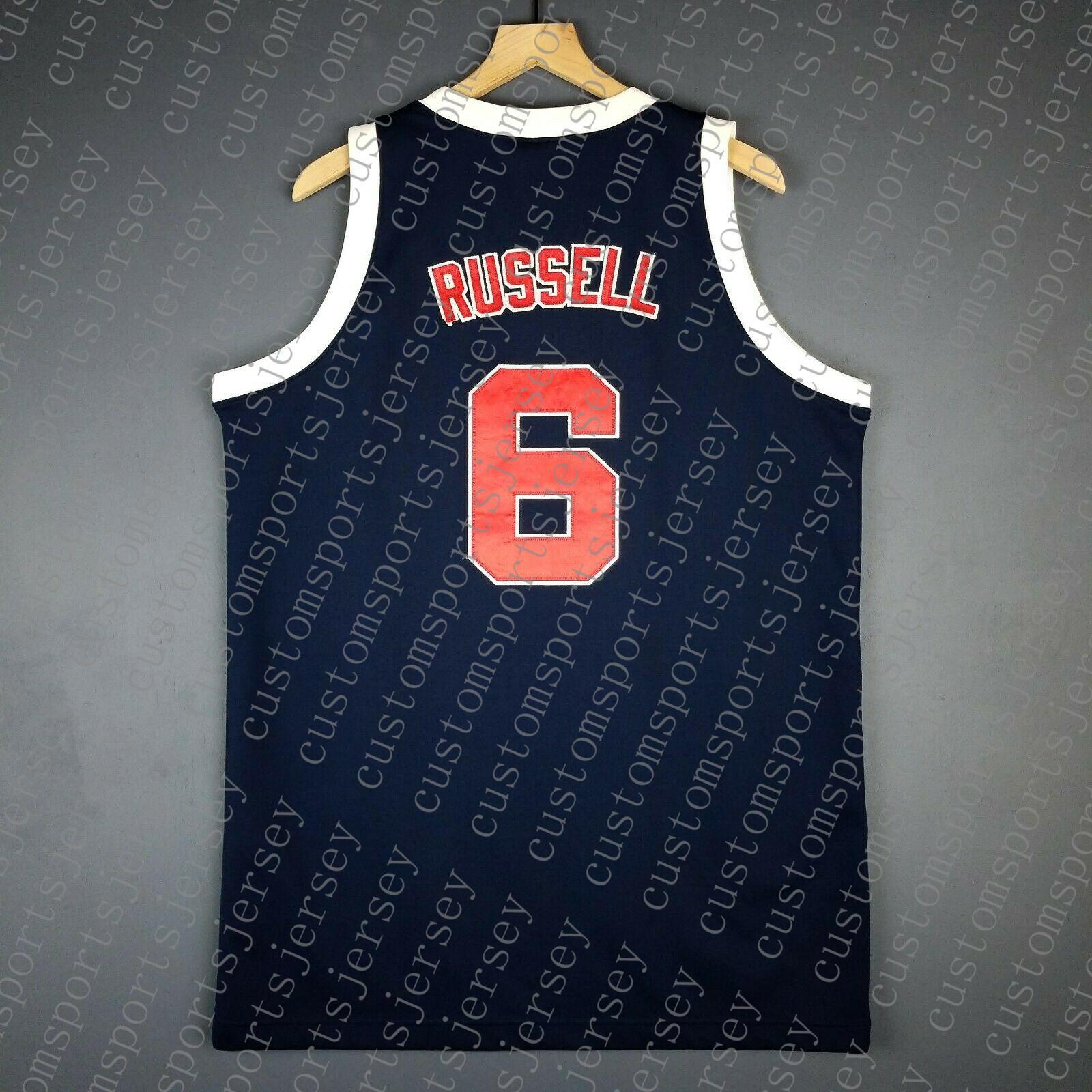 100% cosido Bill Russell Juegos Olímpicos de baloncesto Jersey cosido jerseys NCAA Tamaño XS-6XL