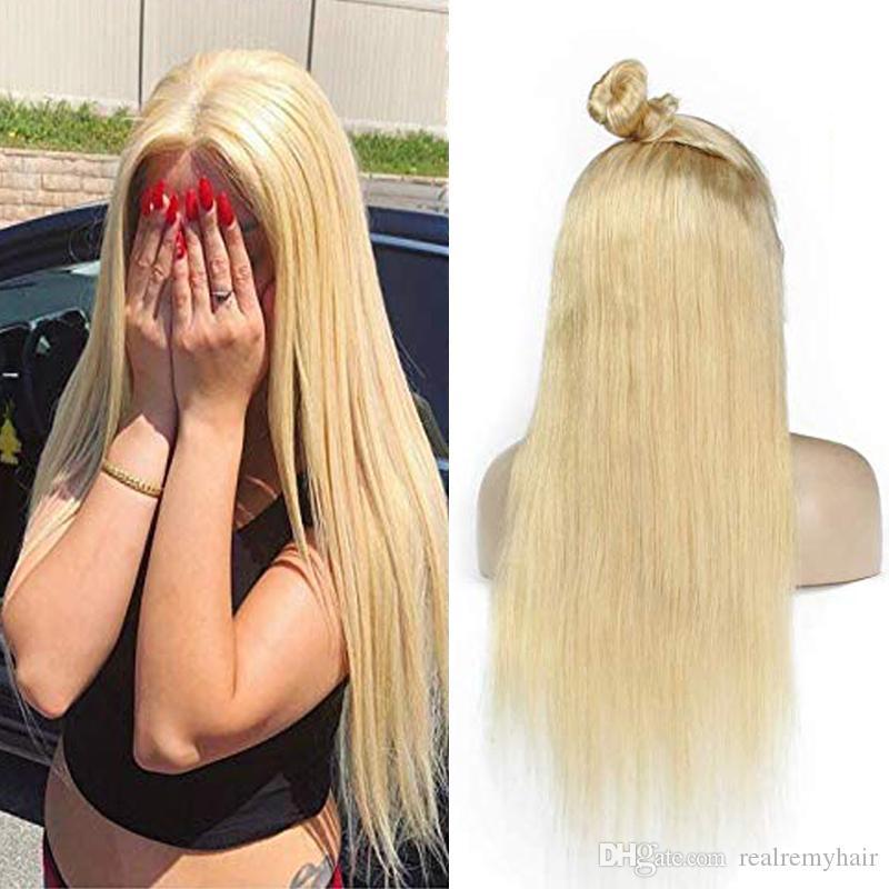 Pelucas de pelo humano frente al encaje Sedoso recto 613 Rubio Brasileño Virgen Virgen 150 Densidad Pelucas de encaje completo para mujeres negras con pelo de bebé