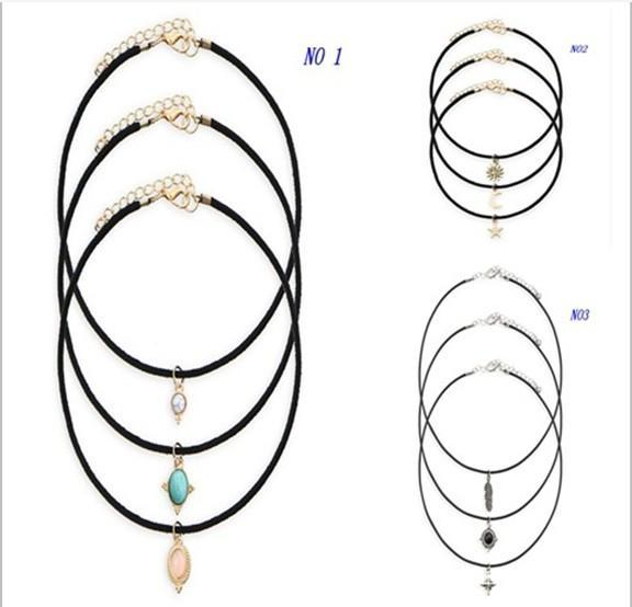 New Leather Chain 3pcs Set Alloy Moon Star Sun Moon Turquoise Chokers Necklaces Women Maxi Statement Necklaces Gifts HZ