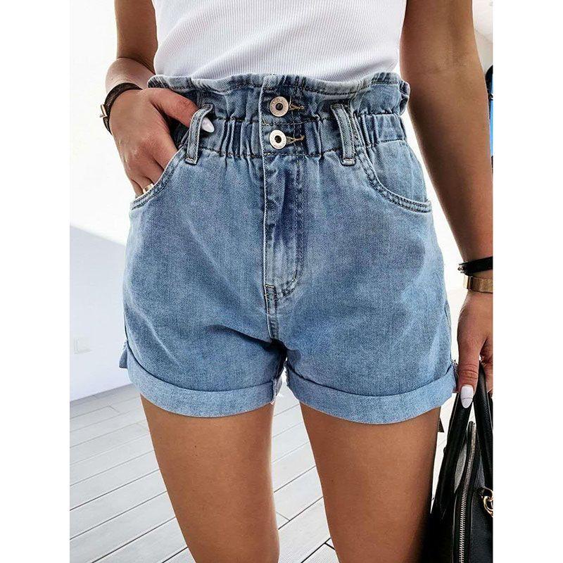 Más mujeres del tamaño de cintura alta pantalones cortos de mezclilla pantalones vaqueros de la colmena del verano corto delgado Mujer Ocasional SJ6352Y pantalones cortos de jean de moda Streetwear