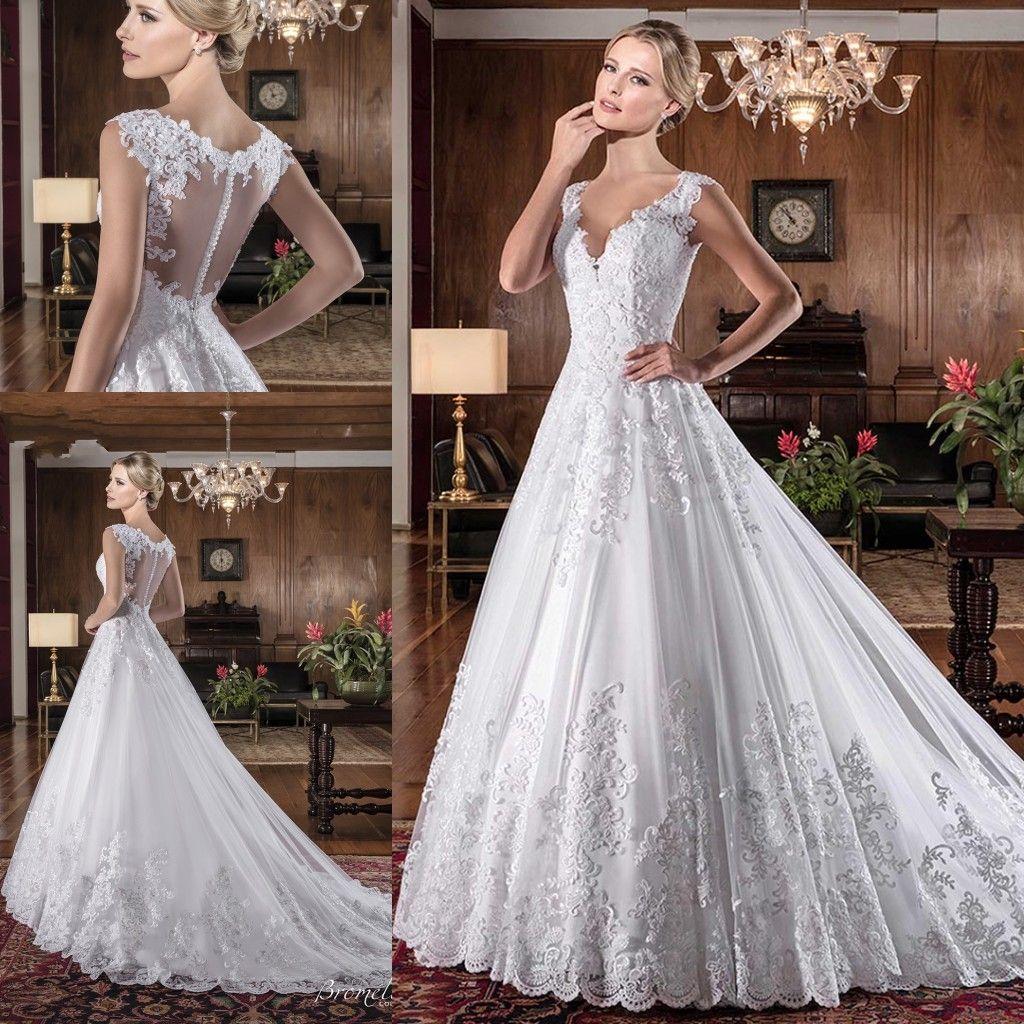 Custom Made Crystal Wedding Dresses V Neck Lace A Line Sweep Train Illusion Back Custom Made Cheap Bridal Dresses