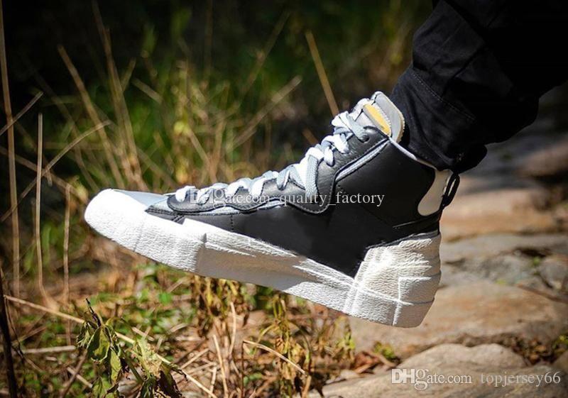 2020 Sacai X metà doppie lingue mens womans scarpe da ginnastica nero bianco grigio blu Designers Trailblazers Scarpe con box