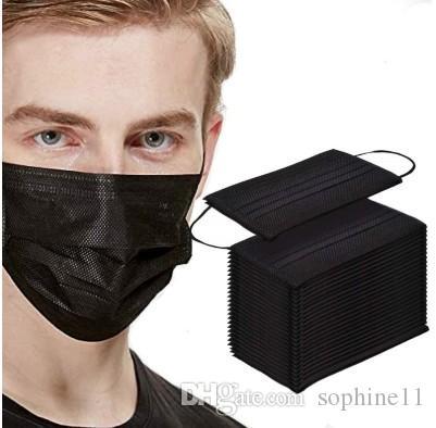 50pc Black Face Mouth Защитная маска одноразовая 3 слоя фильтра ушной Нетканые Mouth маски в наличии быстрой доставкой