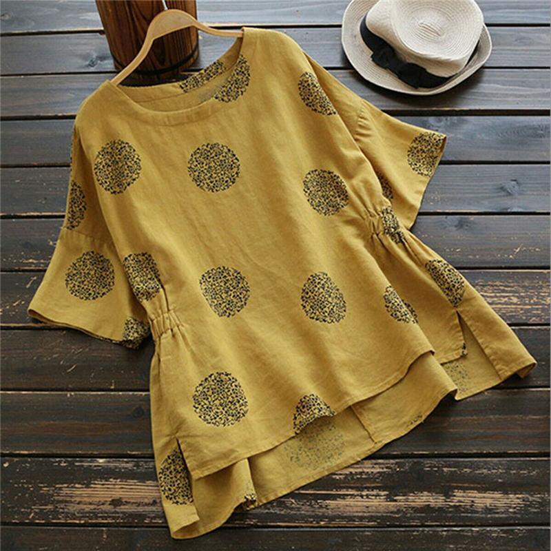 Manica corta Vintage allentato cotone LinenBlouse O Collo tunica shirt da donna Top Nuovi estate Camicie allentato delle parti superiori