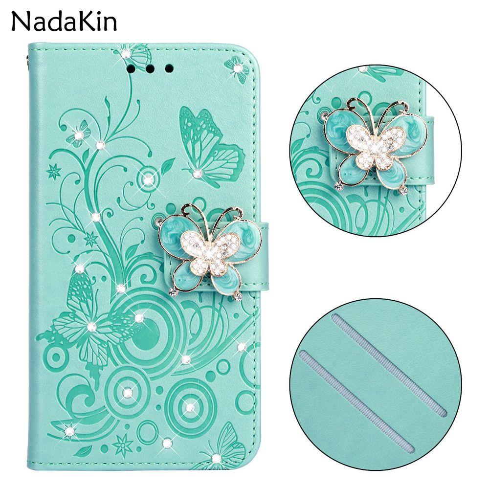 Bling Bling de lujo caso de libro para iPhone 6 6S 7 8 Plus X XS MAX XR 5 5S SE cubierta del tirón Shell Glitter Rhinestone mariposa