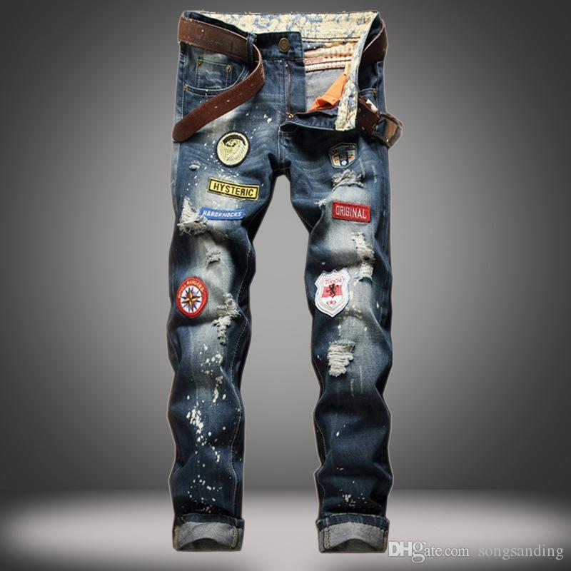 Novos homens neve designer de moda slim skinny motociclista calças de brim casuais jeans reta motocicleta dos homens calças jeans destruídos 778 #