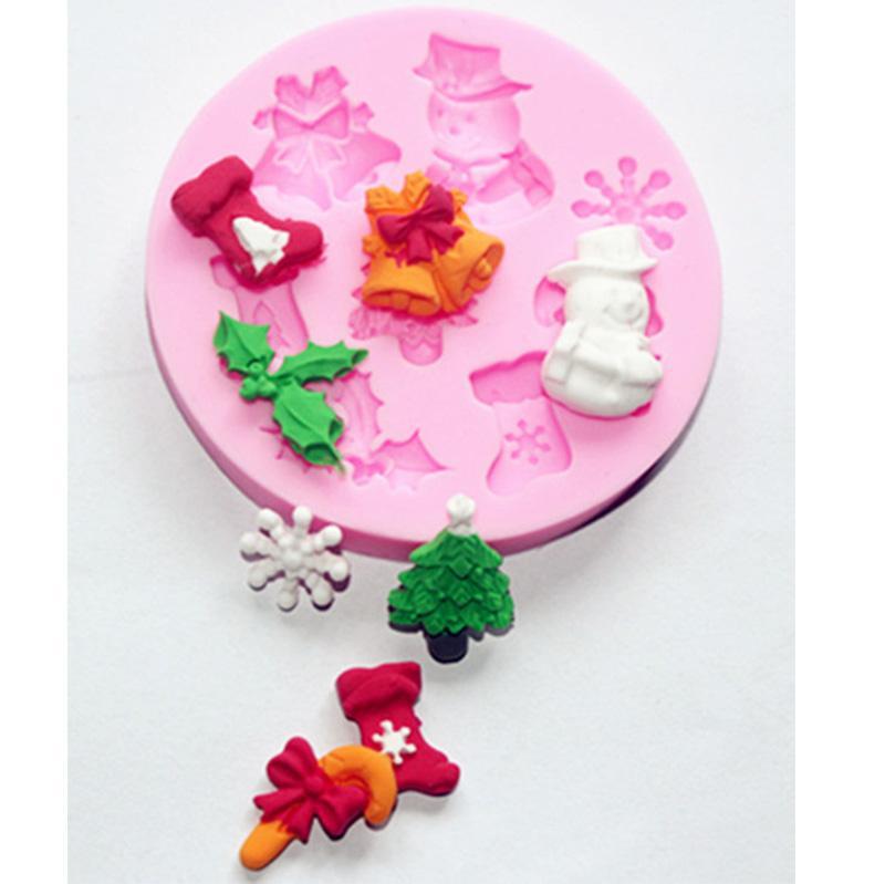 Natal dos doces New Silicone Bolo de Moldes DIY bolinhos moldes de silicone Bakeware Árvore de Natal Meia de flocos de neve em forma de ferramentas de cozimento de cozinha