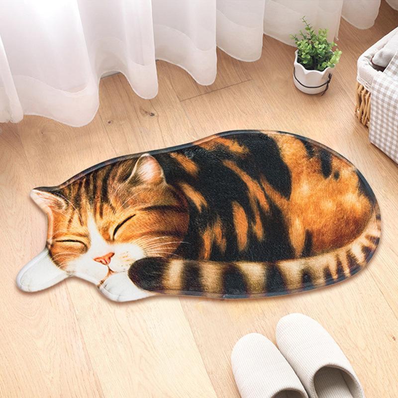 Big 3D Printed Sleeping Cat Doormats Hallway Doorway Carpet Living Bedroom Anti-slip Floor Mats Kitchen Balcony Rugs Tapete