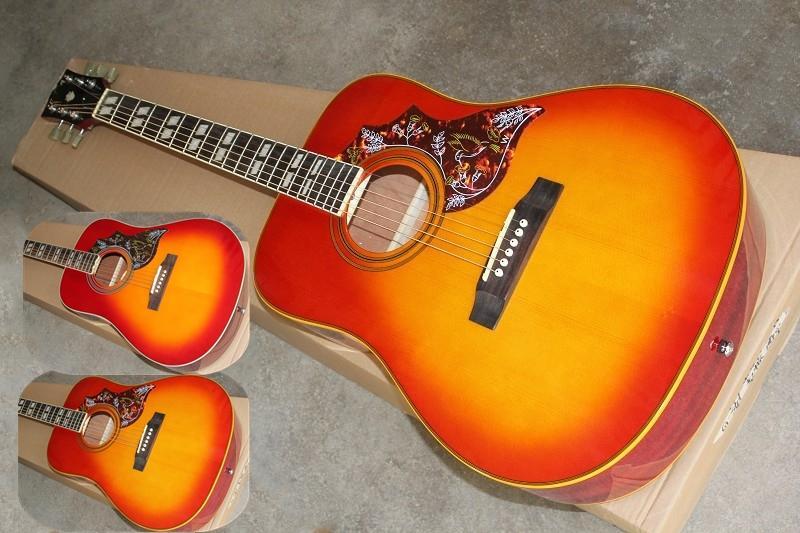 o envio gratuito de costume 41inch colibri guitarra acústica, cereja guitarra sunburst, guitarra de madeira, corpo de bordo, pau-rosa corpo negro