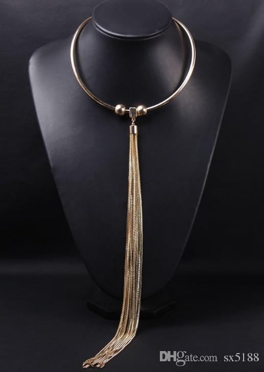 Halskettenart und weisegoldlange Troddelkragenhalsketten-Schlüsselbeinfrau übertrieben Zusatzgroßverkauf 072905
