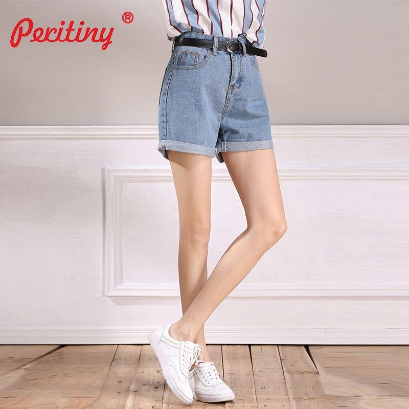 107cc912e0 Compre Pantalones Cortos De Mezclilla Peritiny Para Mujeres Pantalones  Cortos De Talle Alto Con Un Cinturón Pantalones Azules Claros Mujer Moda  Casual Corto ...