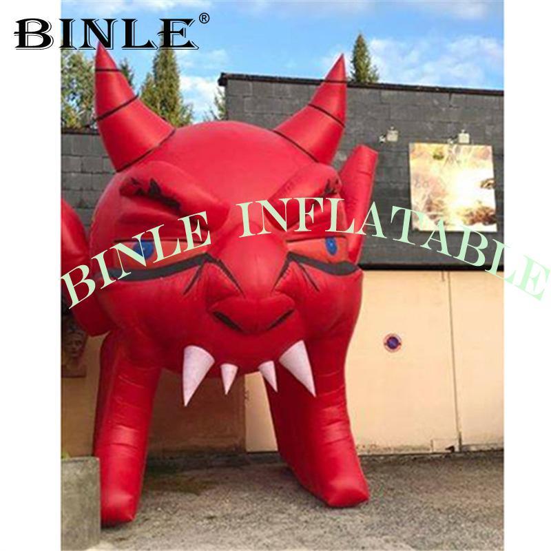 Halloween tema terror diabo inflável, túnel cabeça demônio para decoração evento feriado