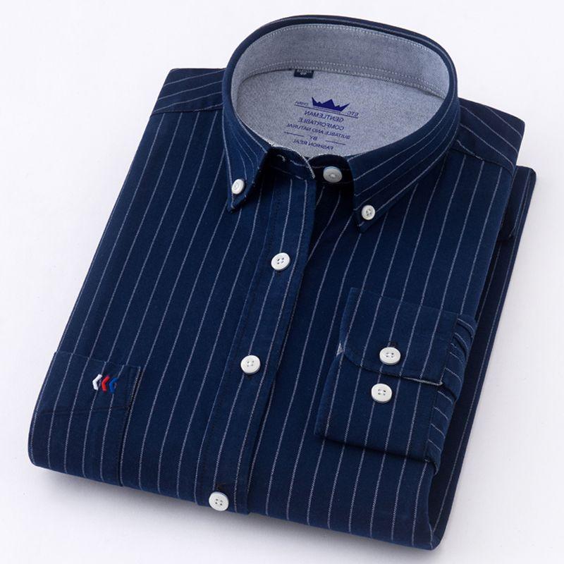 Новый Прибыл 100% рубашки хлопка с длинным рукавом клетчатые рубашки / полосатая рубашка плюс размер 5XL Oxford Мужские рубашки платья Камиза Социальные
