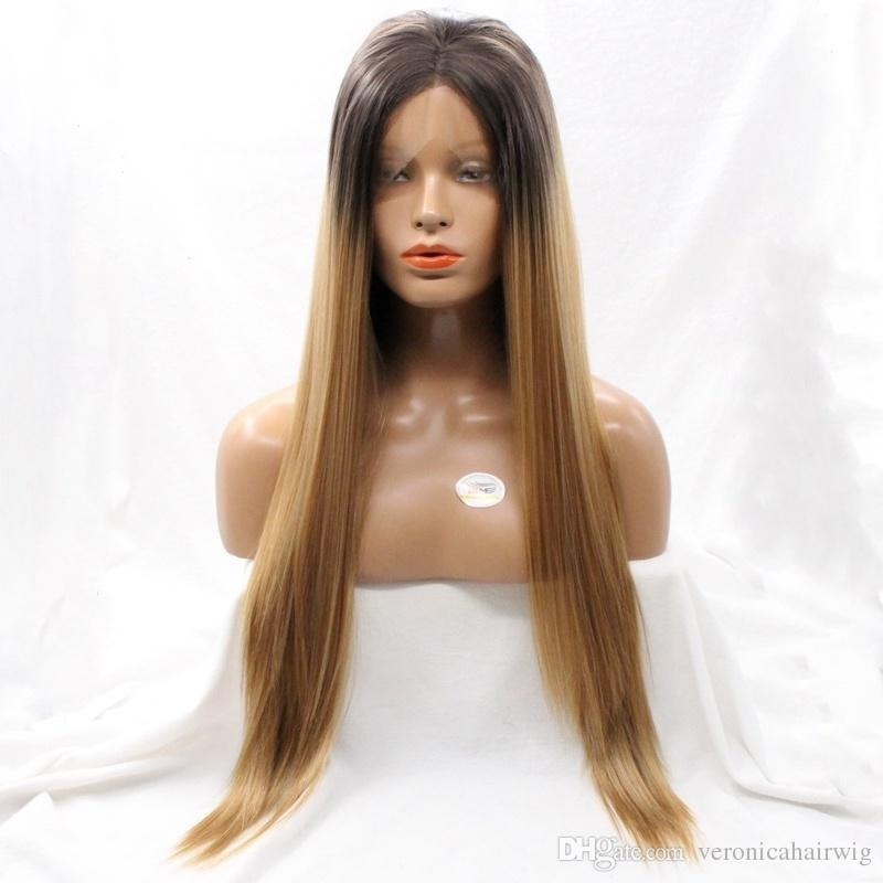 Fashion High Temperature Kanekalon Fiber Half Hand-Tied Ombre Brown Long Straight Heat Resistant Fiber Glueless Synthetic Lace Front Wig