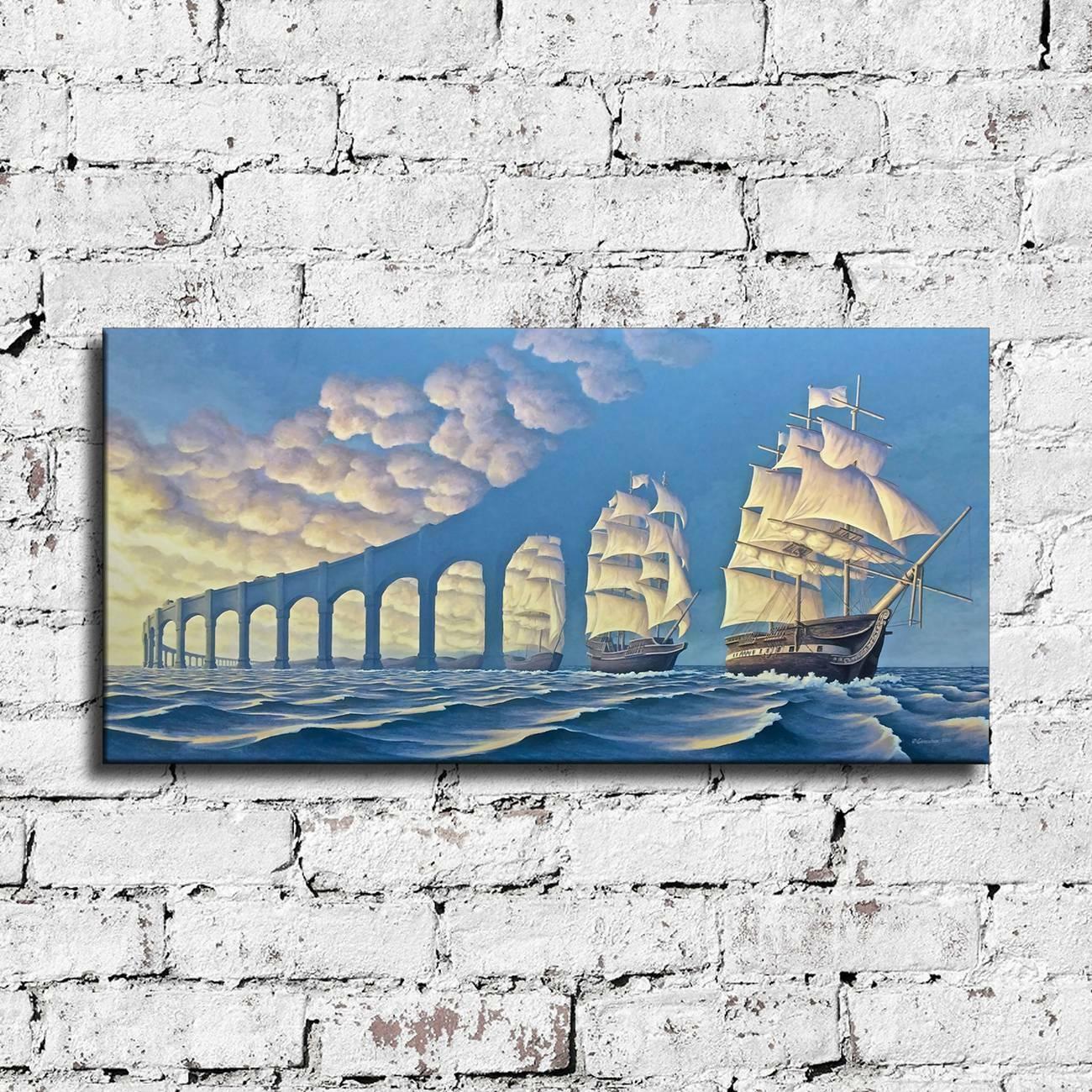 """Rob Gonsalves """"Güneş Yelken ayarlar"""" büyük duvar resmi Ev Dekorasyonu Handpainted HD Yağ On Tuval Wall Art Tuval Resmi 191.217 boyama yazdır"""