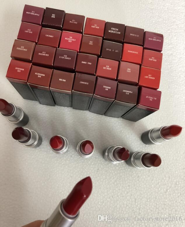 Brand Lipstick Matte Rouge A Levres Aluminum Tube Lustre 29 Colors Lipsticks with Series Number Russian Red Top Quality