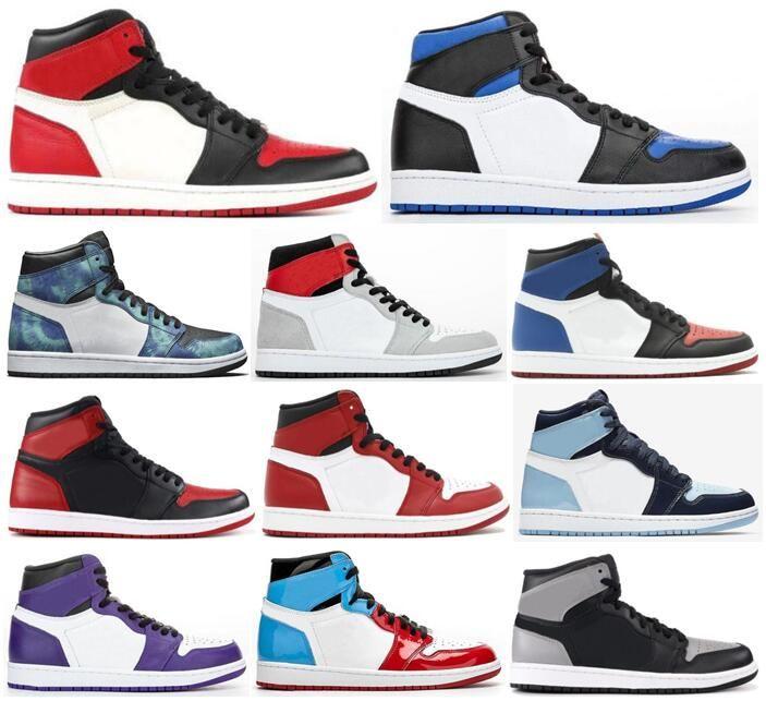 Новый 1 Top 3 Royal Toe Бреда Toe Чикаго Tie-Dye Бесстрашного Баскетбол обувь Мужчина 1S Light дымковой Тень Obsidian тапок с коробкой
