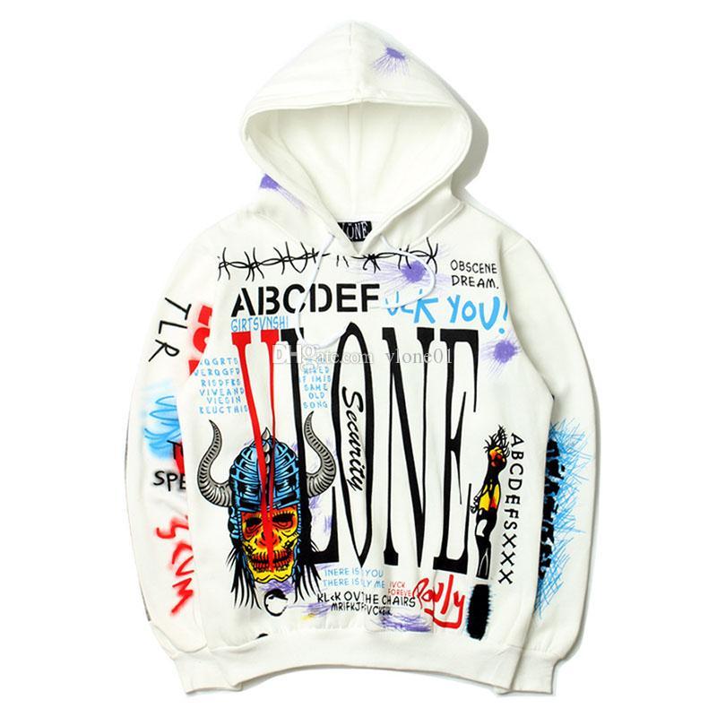 Vlone Hoodie Vlone Graffiti Erkekler Stilist Hoodies 19ss Yüksek Kalite Beyaz Erkekler Kadınlar Stilist Hoodies Sweatshirt Boyut M-2XL