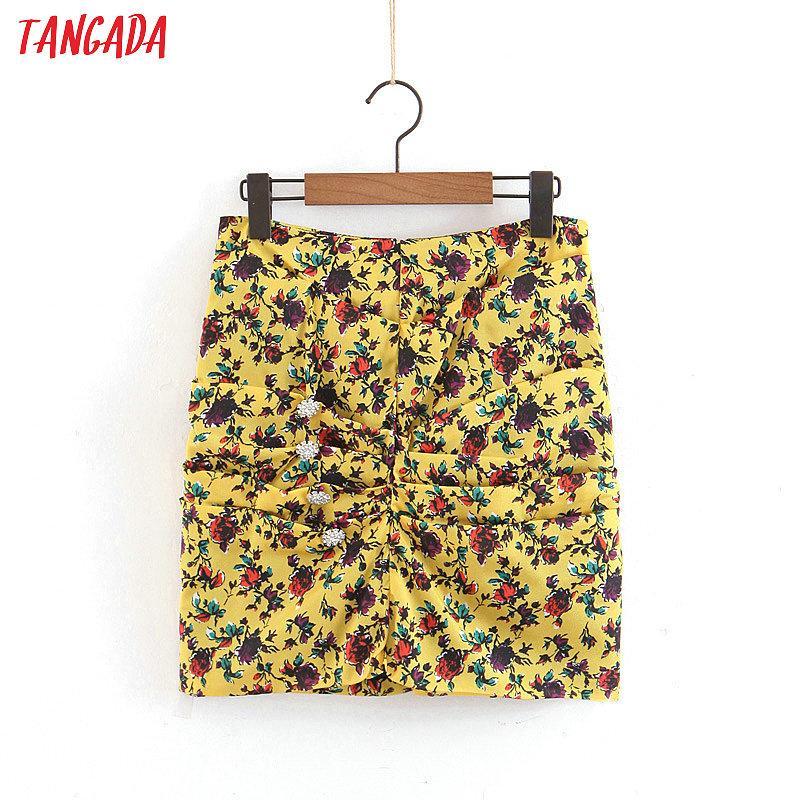 Tangada doux bouton jaune diamant jupe imprimé des femmes de l'été des femmes courtes mini jupes marque dames jupes chics volants SL277