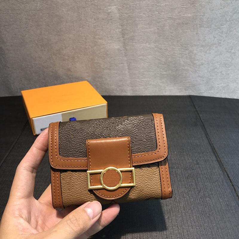 billetera con caja de la cartera corta tipo de alta calidad del cuero genuino cartera 2.020 serialNumber carta nueva moda y la flor imprimen