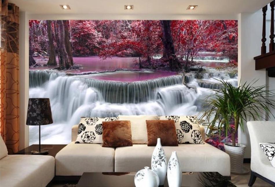 Пользовательский размер 3D Mural Обои Ручей течет водопад Спальня Гостиная Диван фона Стена Фрески Фото обои для стен 3D