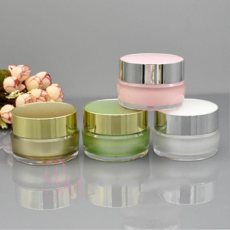 Brilhante acrílico plástico frasco creme frasco 5g 10g 15g 30g para recipientes de embalagem cosméticos ouro branco