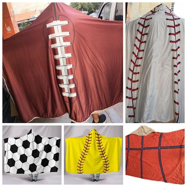 5 Stiller Beyzbol Kapşonlu Battaniye Yetişkin Sherpa Beyzbol Hoodie Sherpa Spor Temalı Softbol Kapşonlu Futbol Battaniye CCA10511 12pcs Blanket