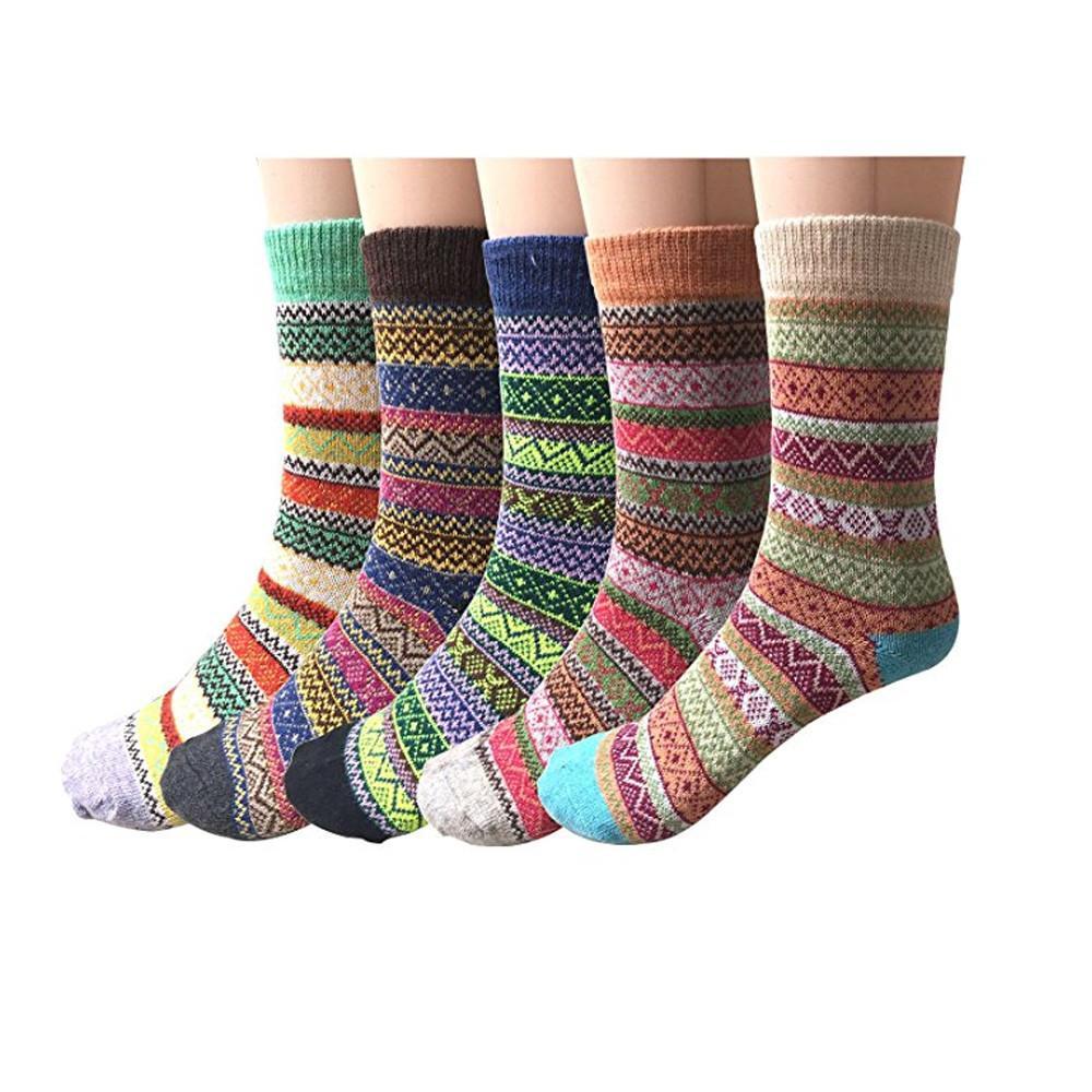 5 paia calzini in lana calda stampati a maglia da donna calzini comodi calzino in cotone alla caviglia caviglia divertente non pantofola slip divertente # 20