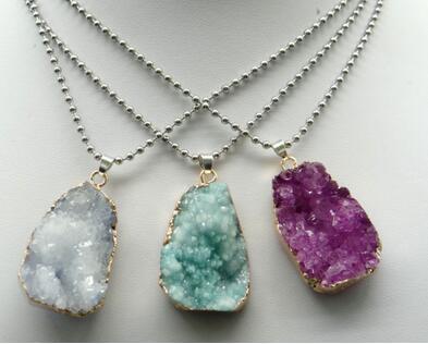 pietra naturale del cristallo di quarzo avventurina perline turchesi Opal irregolare pendente di fascino per monili che fanno accessori fai da te
