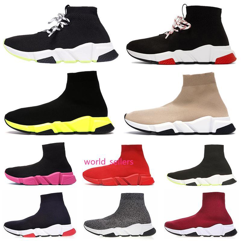 24-48h ship out Designer Shoes Speed Trainer Casual Sock Shoe Triple Black White Glitter Flat Fashion mens women Runner Socks Sneakers 36-45