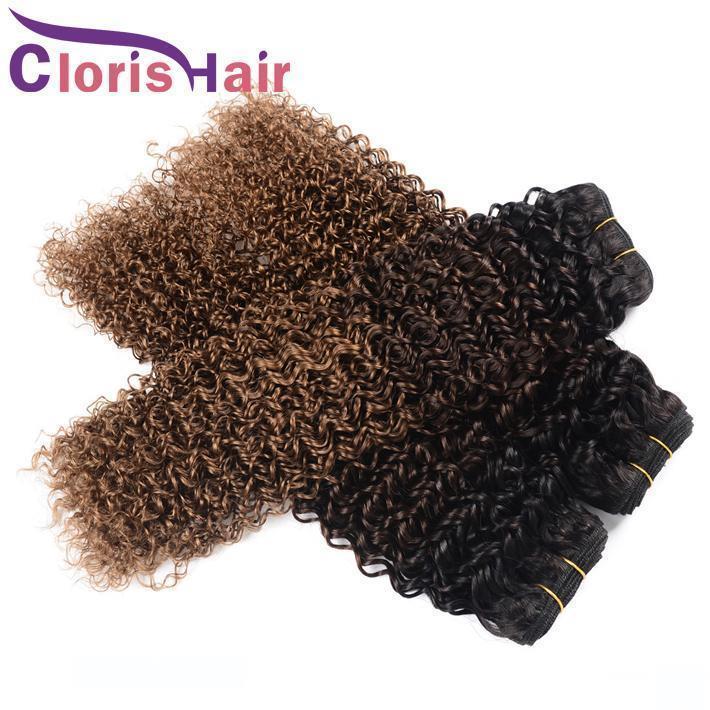 Kinky завитых человеческих волос Пучки малазийского Virgin Blonde Ombre ткет Colored Три тона 1б-30 Надувных Кудрявого Ombre Hair Extensions 12