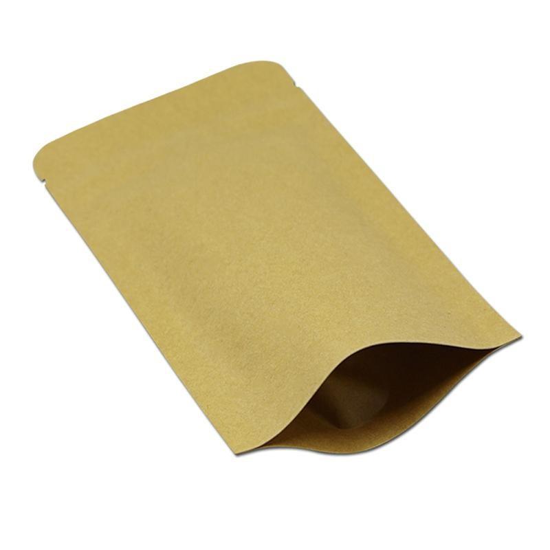 9 * 14cm Doypack Kraft Paper Mylar-Speicher-Beutel Stand Up Papier Aluminiumfolie Tea Biscuit-Paket-Beutel geben Schiff frei