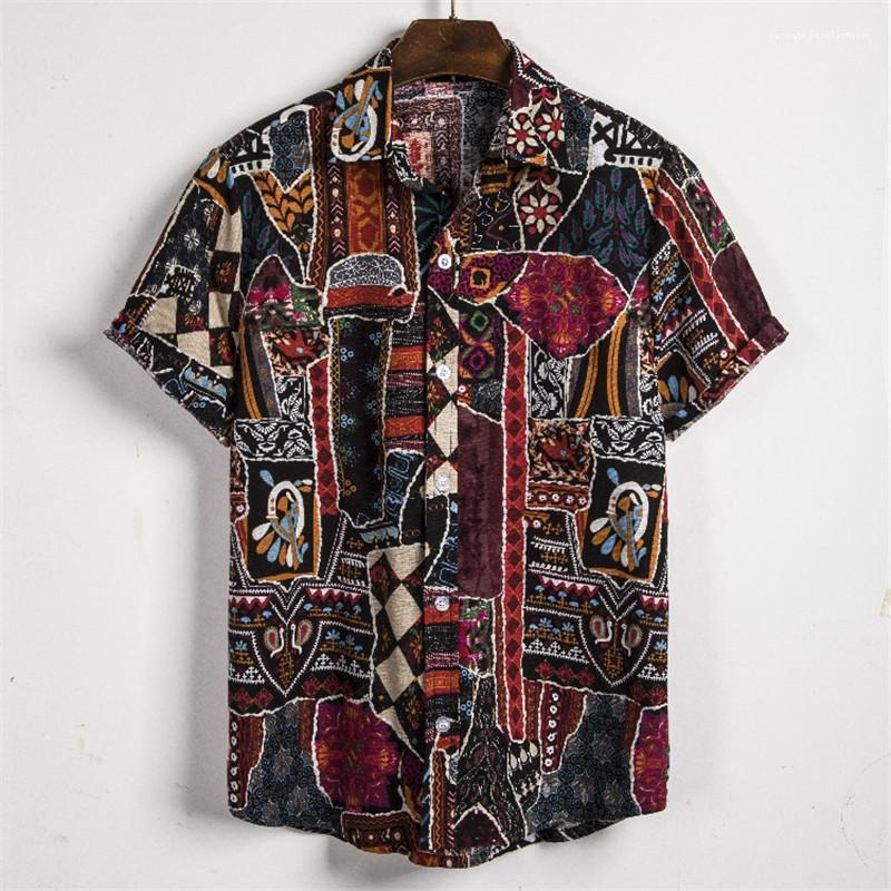 Style ethnique Casual Shirts Plus Size Hommes Shorts manches d'été Hauts pour hommes Designer imprimés Chemises Mode