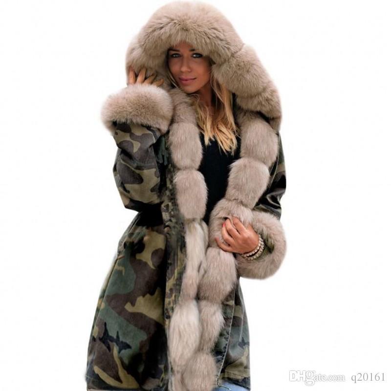 Новая зима Сохраняйте теплое пальто Женщины камуфляж Верхняя одежда Slim Parkas Длинный шерстяной воротник с капюшоном пальто с хлопковым пальто