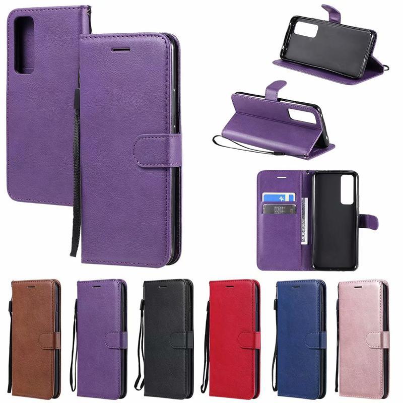 PU billetera de cuero titular de la ranura de la tarjeta Llanura cubierta del tirón del caso para Huawei P40 P40 PRO litée Y5P Y6P P SMART 2020 de honor 30 Pro 9A NOVA7 con correa