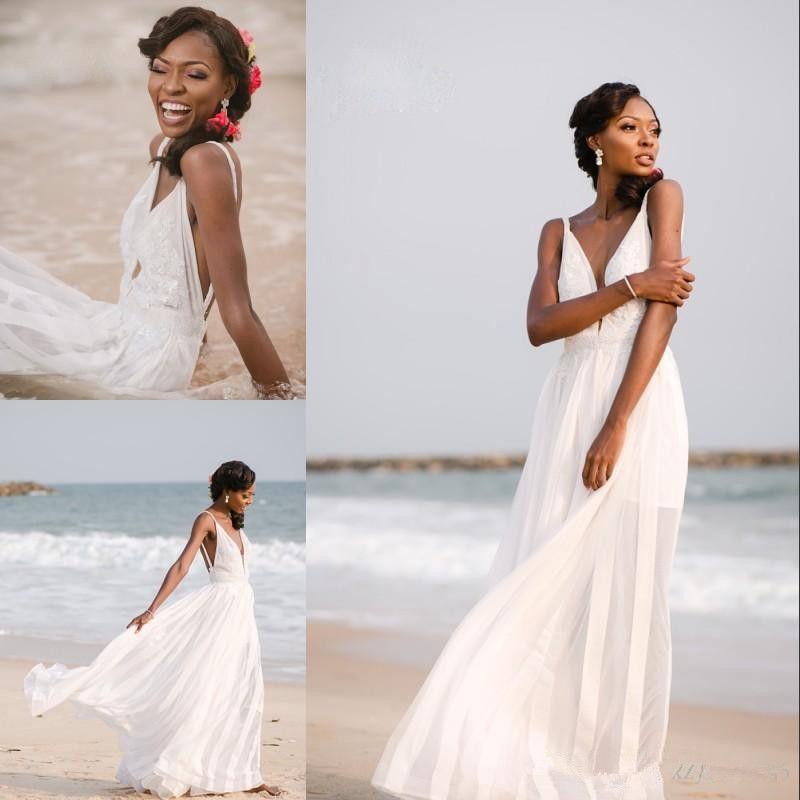 Hundimiento atractiva de cuello en V boda de playa vestido blanco sin espalda Apliques Cremallera larga de la gasa 2019 nuevos vestidos de boda de vacaciones de verano manera de la llegada