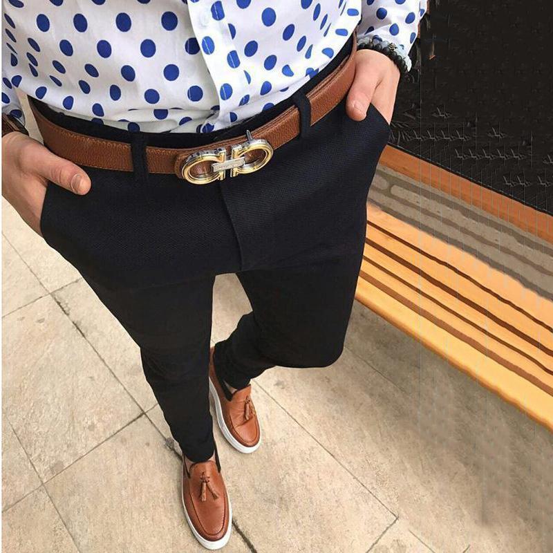 Vendita calda degli uomini pantaloni formali Slim Fit affari del cotone salita Mid Bottoms Plus Size ufficio casual Pantaloni a sigaretta Etero Solid