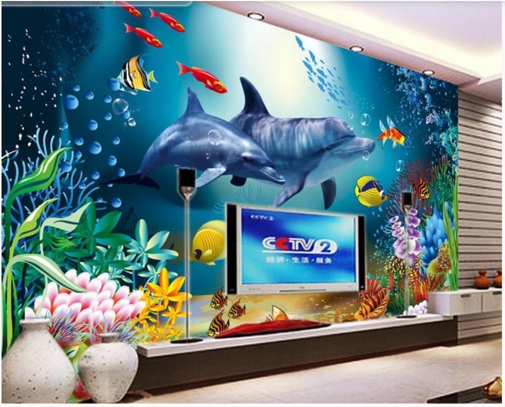 Пользовательские фото обои 3d Фрески настенные обои для гостиной Подводный мир подводной бумаги фоне стены существа ТВ декоративные росписи