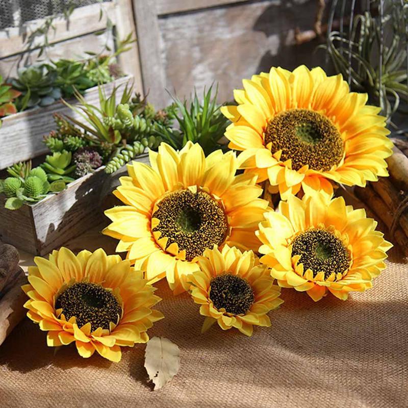 جديد وصول الأصفر الحرير الاصطناعي عباد الشمس رؤساء للمنازل الزفاف الحدث diy زينة لوازم كثير حجم المتاحة