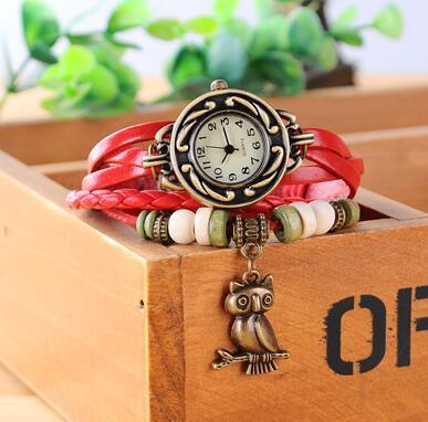 Fashion Retro Leather Winding Bracelet watch Owl Pendant Wristwatch New Rope Weave Owl Tag Women Bracelet watch