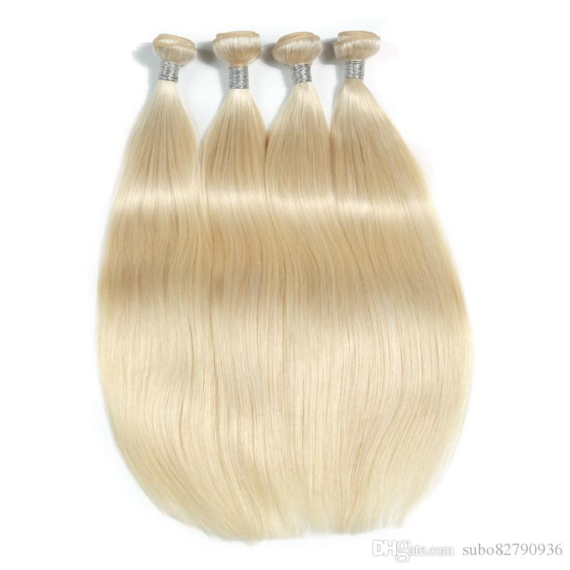 The New Style Of Platinum Blonde Brazilian Virgin Straight Hair Weave Bundles Straight 100% Human Hair Weave 10-30 Inchs Remy Hair Extension